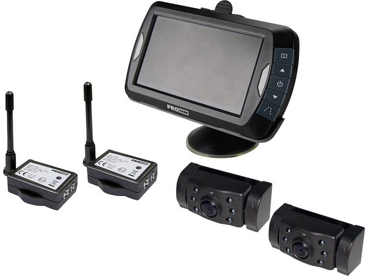 ProUser APR043x2 Draadloze achteruitrijcamera 2 cameras, Extra IR verlichting, Afstandshulplijnen, Automatische dag nachtomschakeling, Diafragma F 2.0,