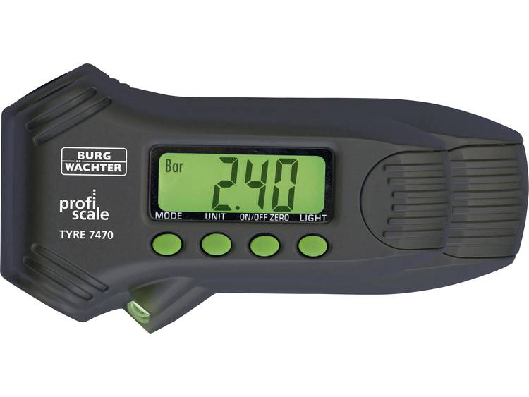 Bandenprofielmeter, Bandendrukmeter Digitaal Meetbereik luchtdruk 0 14 bar Meetbereik diepte 0 22 mm Burg Wächter TYRE PS 7470