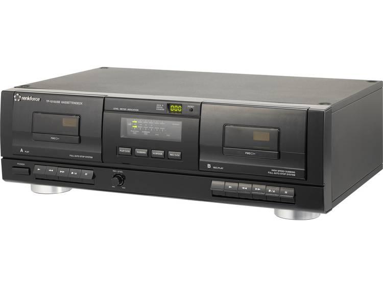 Renkforce TP-1010USB Cassettedeck Zwart Dubbel cassettedeck, USB
