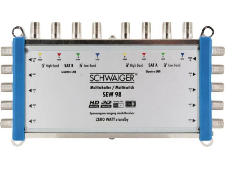 Schwaiger SEW98 531 Satelliet multiswitch Ingangen (satelliet): 9 (8 satelliet / 1 terrestrisch) Aantal gebruikers: 8 Standby-functie