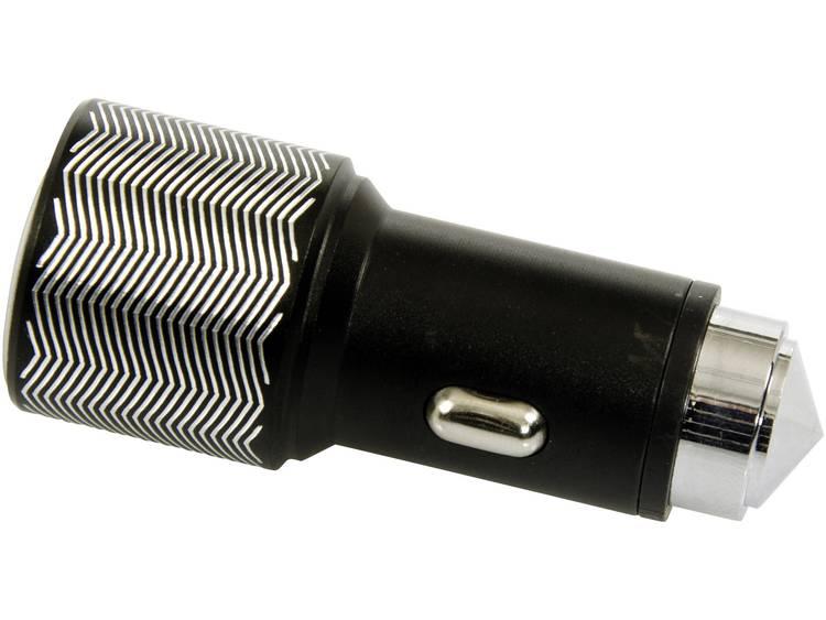 ACE 101498 Auto oplader met 2 USB aansluitingen en noodhamer Stroombelasting (max.) 3.1 A Geschikt voor Sigarettenaansteker, USB A