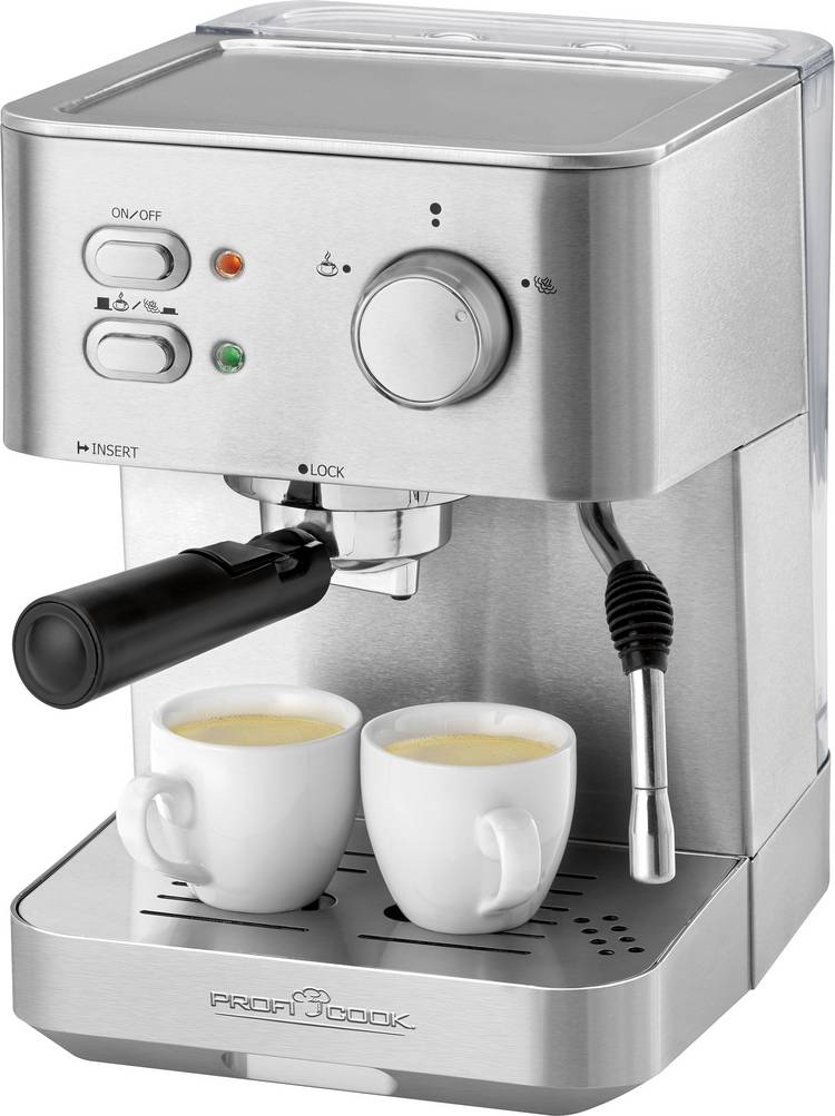 Image of Espressomachine Profi Cook PC-ES 1109 RVS, Zwart 1050 W met kopverwarmer
