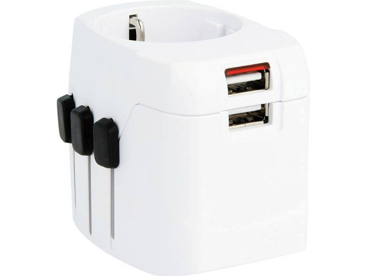 World Adapter PRO Light USB suitable for 2- & 3-pole plugs with an int