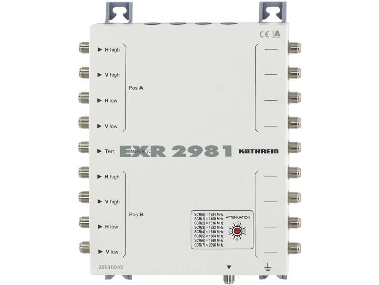 Kathrein EXR 2981 Satelliet multiswitch cascade unicable Ingangen (satelliet): 9 (8 satelliet / 1 terrestrisch) Aantal gebruikers: 8