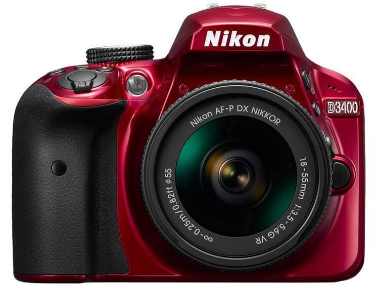 Digitale spiegelreflexcamera Nikon D3400 Kit Incl. AF-P 18-55 mm VR 24.2 Mpix Rood Full-HD video-opname, Flitsschoen, Bluetooth, Optische zoeker