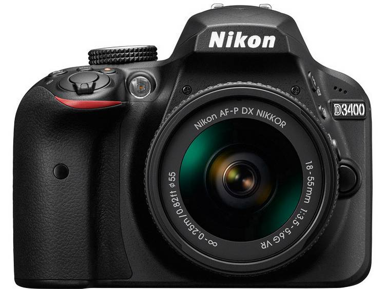 Nikon D3400 Kit Digitale spiegelreflexcamera Incl. AF-P 18-55 mm VR 24.2 Mpix Zwart Full-HD video-opname, Flitsschoen, Bluetooth, Optische zoeker
