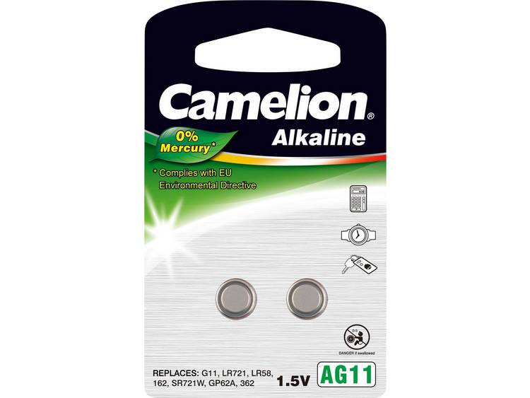 LR58 Knoopcel Alkaline 1.5 V 20 mAh Camelion AG11 2 stuk(s)