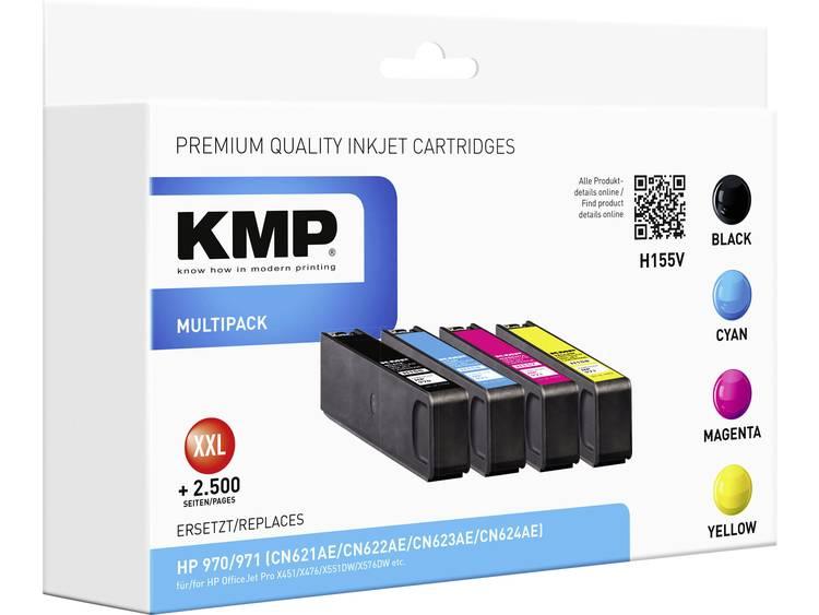 KMP Inkt vervangt HP 970 971 Compatibel Combipack Zwart Cyaan Magenta Geel H