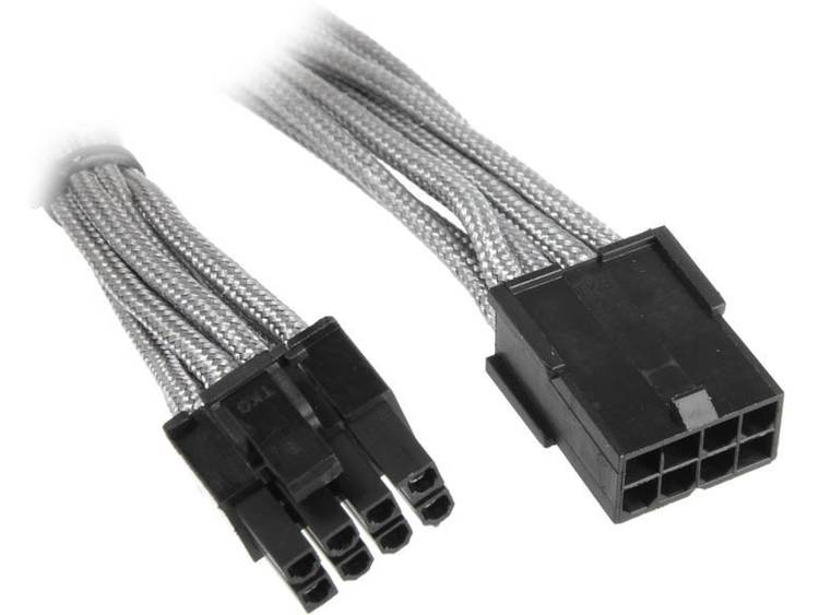 Verlengkabel Bitfenix Stroom [1x PCI-E stekker 8-polig (6+2) - 1x PCI-E bus 8-polig] 45 cm Zilver, Zwart