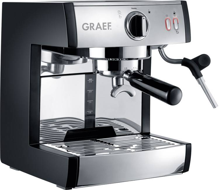 Espressomachine Graef Pivalla EU RVS 1410 W met melkopschuimer