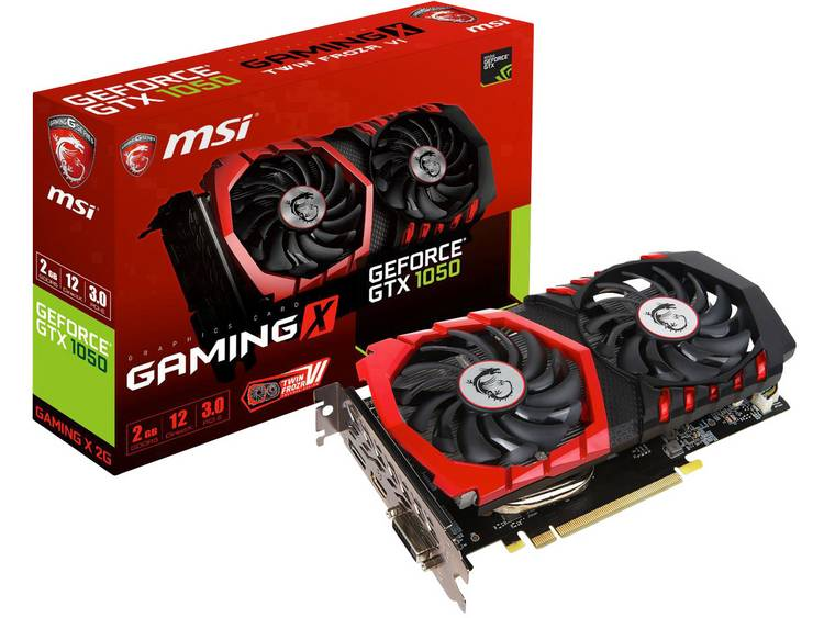 Videokaart MSI Gaming Nvidia GeForce GTX1050 Gaming X 2 GB GDDR5X-RAM PCIe x16 HDMI, DVI, DisplayPort