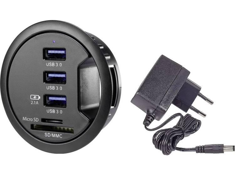 3 poorten USB 3.0-tafelhub met ingebouwde SD-kaartlezer, met status-LEDsRenkforcerf-3USBSD-EBHZwart