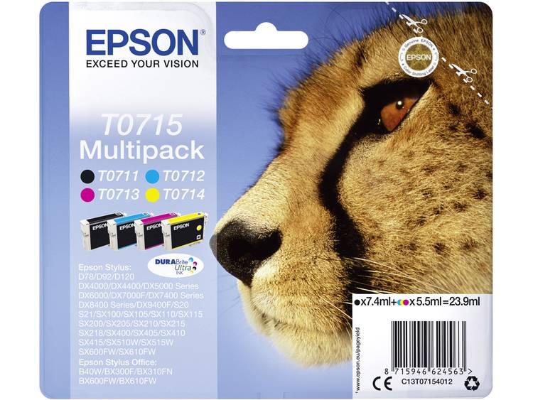Epson Inkt T0715 Origineel Combipack Zwart, Cyaan, Magenta, Geel C13T07154012