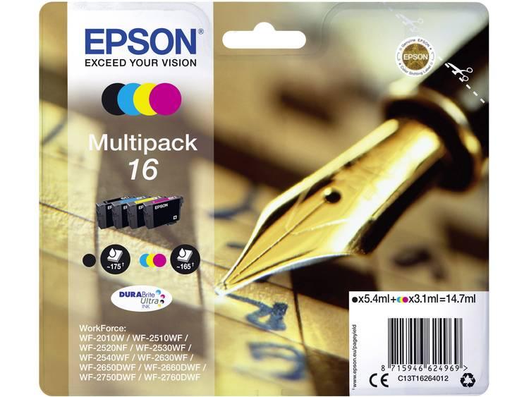 Epson Inkt T1626, 16 Origineel Combipack Zwart, Cyaan, Magenta, Geel C13T16264012