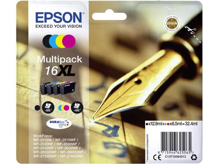 Epson Inkt T1636, 16XL Origineel Combipack Zwart, Cyaan, Magenta, Geel C13T16364012
