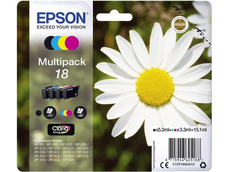 Epson Inkt T1806, 18 Origineel Combipack Zwart, Cyaan, Magenta, Geel C13T18064012