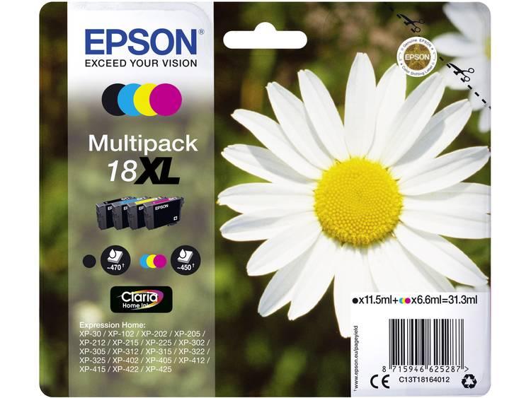 Epson Inkt T1816, 18XL Origineel Combipack Zwart, Cyaan, Magenta, Geel C13T18164012