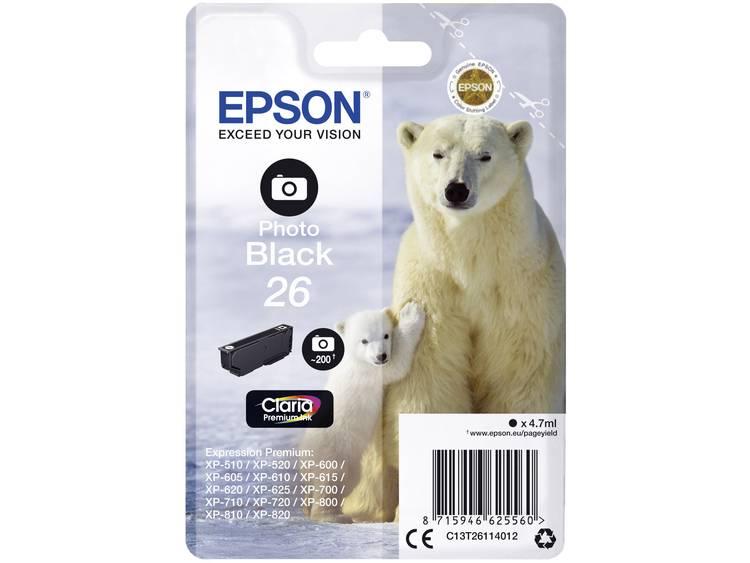 Epson Inkt T2611, 26 Origineel Foto zwart C13T26114012