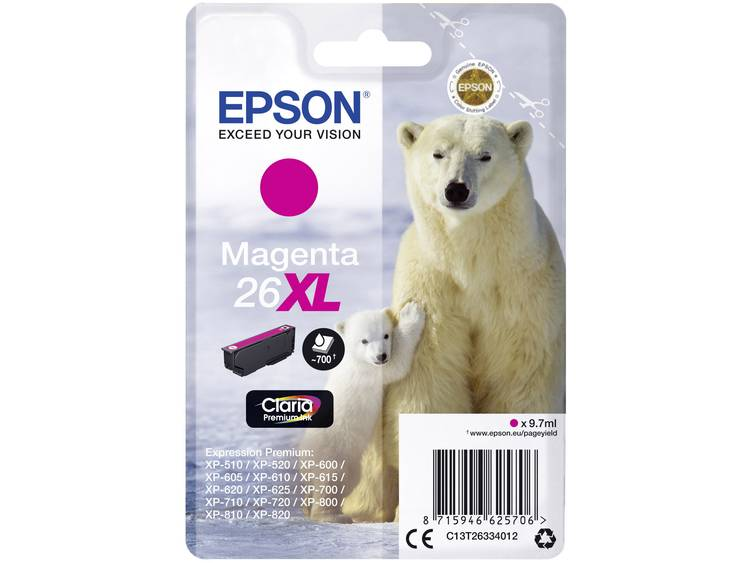 Epson Inkt T2633, 26XL Origineel Magenta C13T26334012