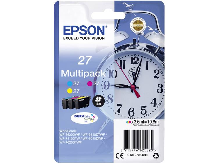 Epson Inkt T2705, 27 Origineel Combipack Cyaan, Geel, Magenta C13T27054012