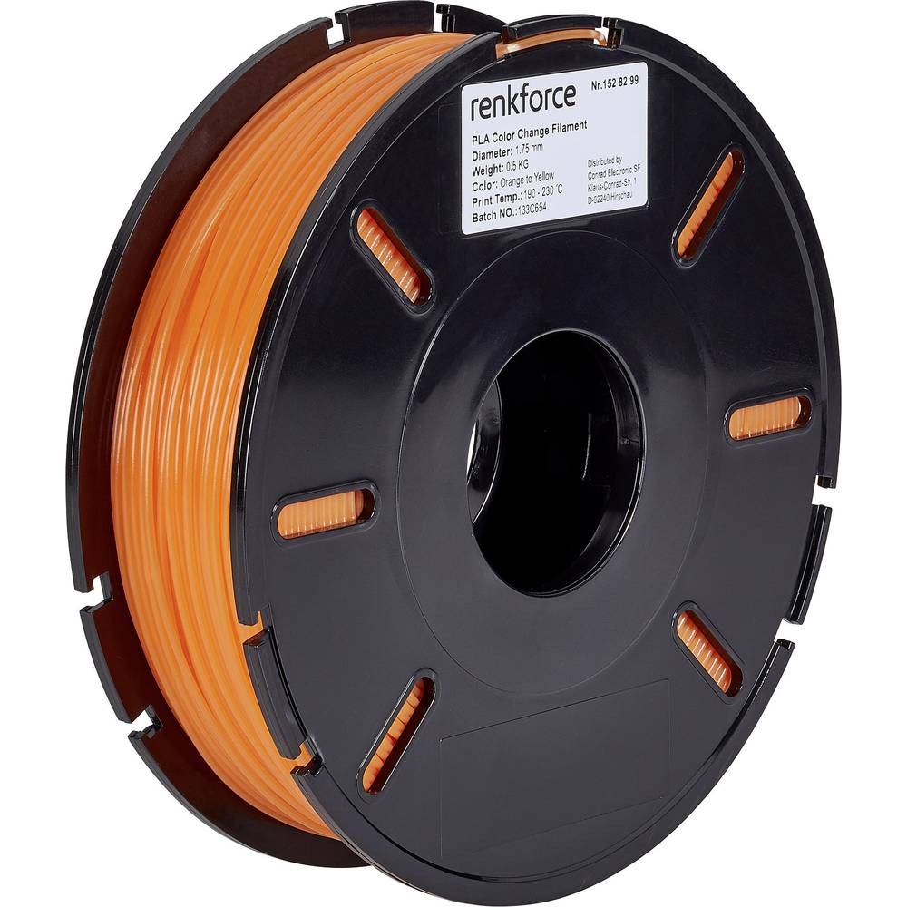 Renkforce RF-4511214 3D-skrivare Filament PLA-plast 1.75 mm 500 g Orange, Gul 1 st