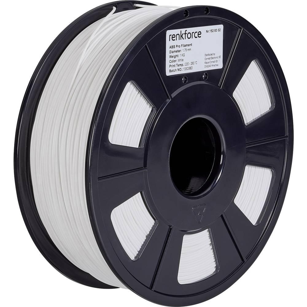3D-skrivare Filament Renkforce ABS-plast 1.75 mm Vit 1 kg