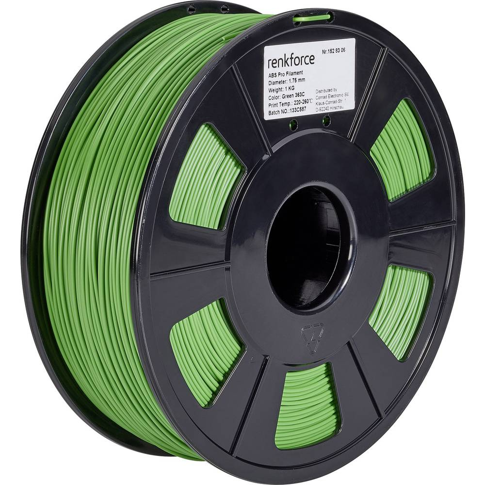 3D-skrivare Filament Renkforce ABS-plast 1.75 mm Grön 1 kg