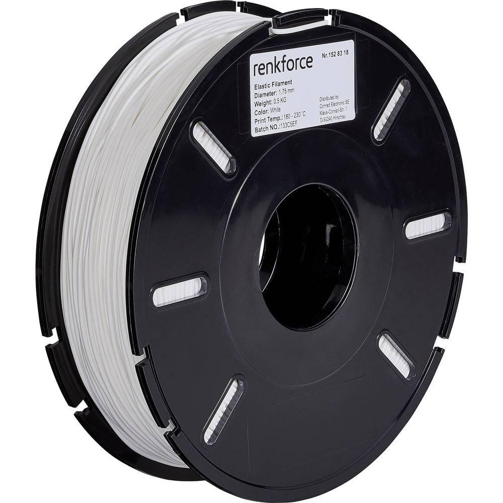 3D-skrivare Filament Renkforce Elastisk semiflexibel 1.75 mm Vit 500 g