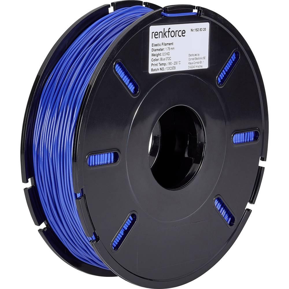3D-skrivare Filament Renkforce Elastisk semiflexibel 1.75 mm Blå 500 g