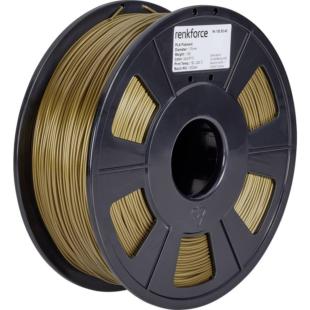 Renkforce RF-4511216 3D-skrivare Filament PLA-plast 1.75 mm 1000 g Guld 1 st
