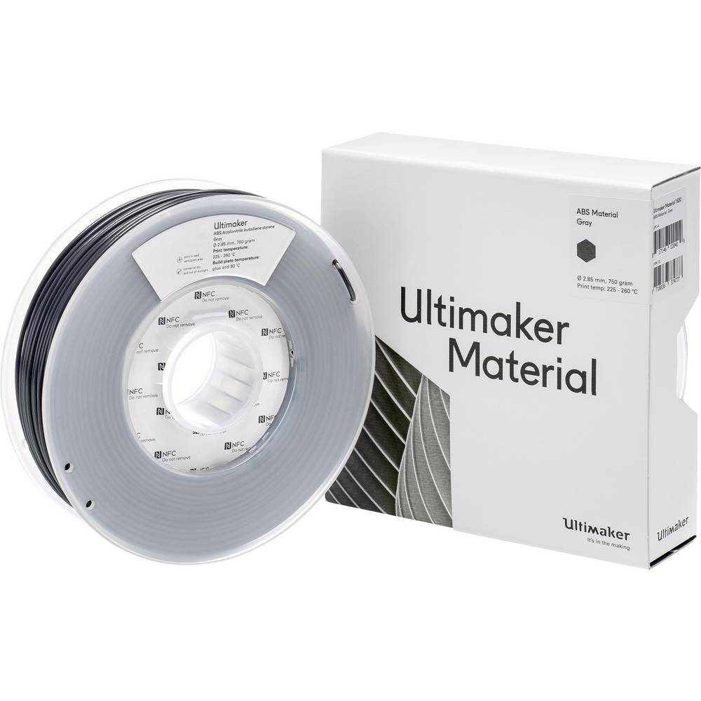 Ultimaker ABS M2560 Gray 750 206127 Filament ABS kunststof 2.85 mm Grijs 750 g