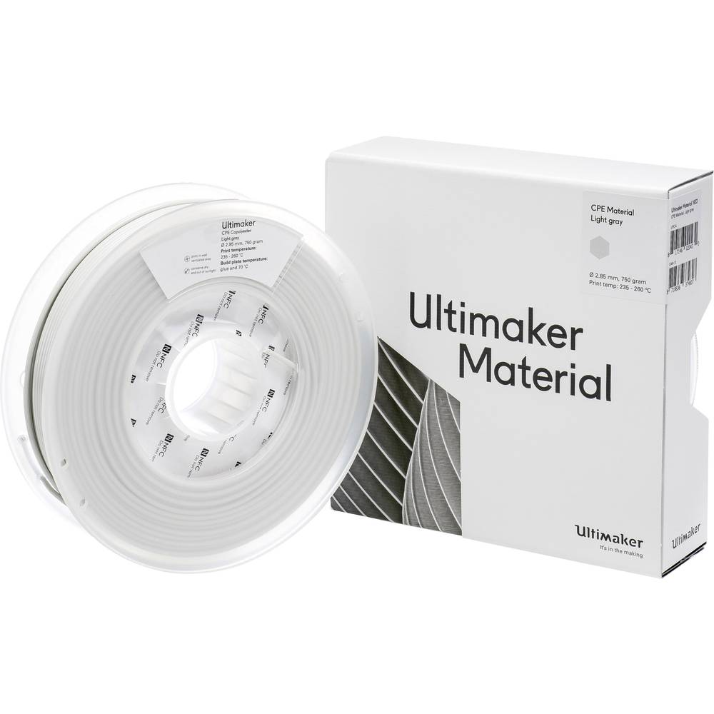 Ultimaker CPE - M0188 Light Gray 750 - 201273 3D-skrivare Filament CPE 2.85 mm 750 g Ljusgrå 1 st