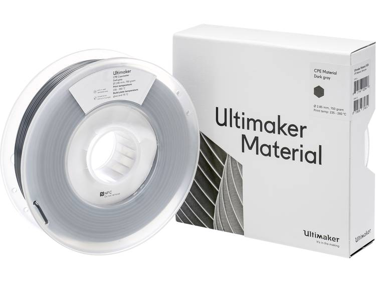 Ultimaker CPE M0188 Dark Gray 750 201273 Filament 2.85 mm Donkergrijs 750 g