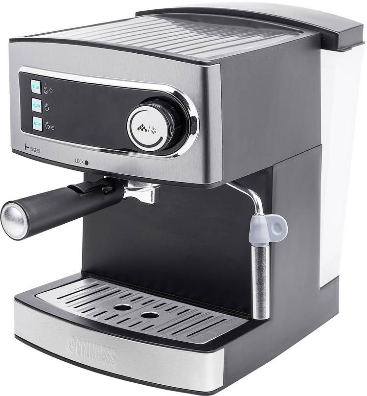Image of Espressomachine Princess KM 54.07 RVS, Zwart 850 W
