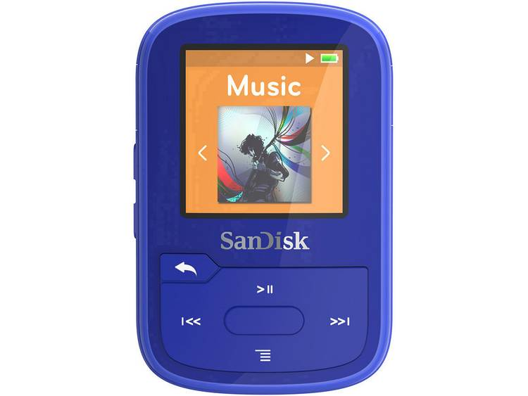 SanDisk MP3-speler 16 GB Blauw Bevestigingsclip, Bluetooth, Waterdicht