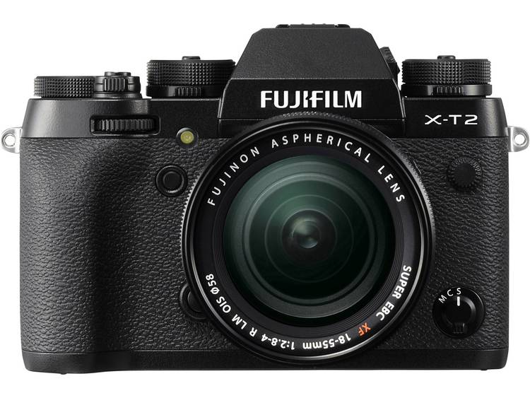 Systeemcamera Fujifilm X-T2 Kit Incl. XF 18-55 mm 24.3 Mpix Zwart 4K Video, WiFi, Draai- en zwenkbar