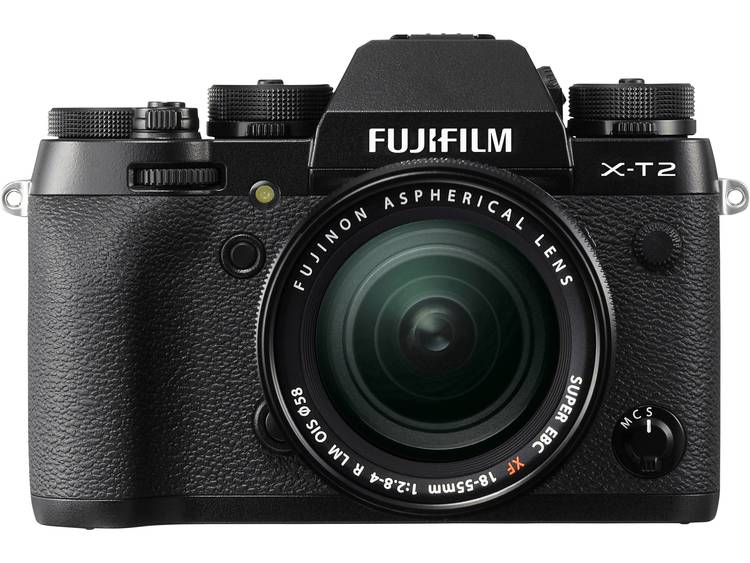 Systeemcamera Fujifilm X-T2 Kit Incl. XF 18-55 mm 24.3 Mpix Zwart 4K Video, WiFi, Draai- en zwenkbare display, Flitsschoen