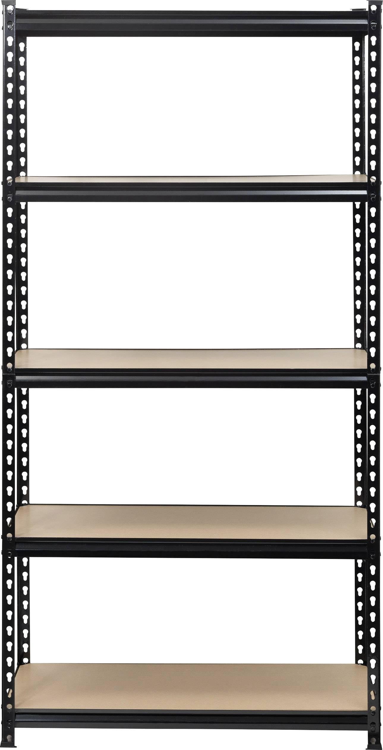 Zwarte Stellingkast Metaal.Toolcraft 1530556 Stellingkast Extra Sterk 350 Kg B X H X D 900 X 1800 X 450 Mm Metaal Mdf Zwart Hout