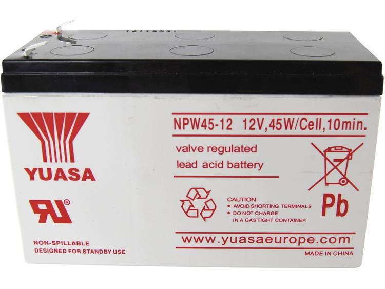 Yuasa NPW45-12 Loodaccu 12 V 8.5 Ah Loodvlies (AGM) (b x h x d) 151 x 97.5 x 65 mm Kabelschoen 6.35 mm Geringe zelfontlading, Onderhoudsvrij, Cyclusbestendig