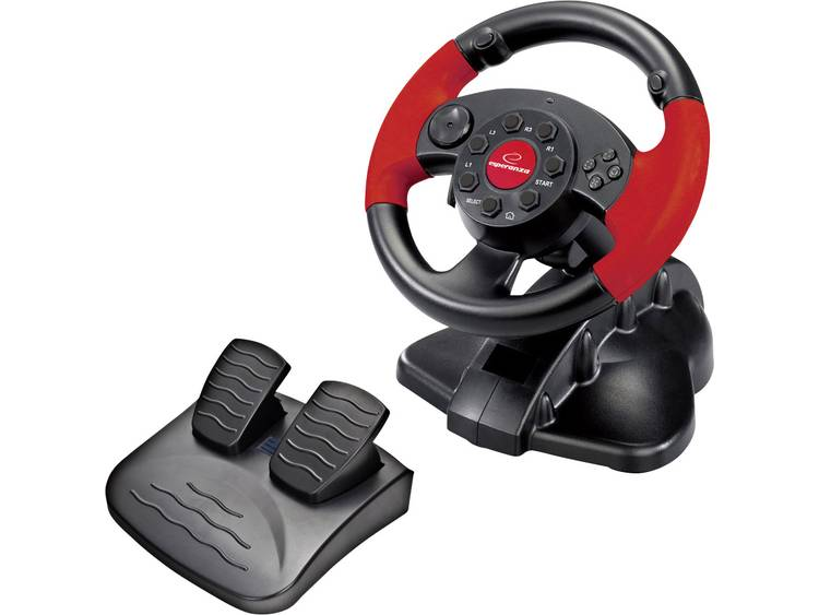 Stuur Esperanza EG103 USB PC, PlayStation 2, PlayStation 3 Zwart, Rood Incl. pedaal