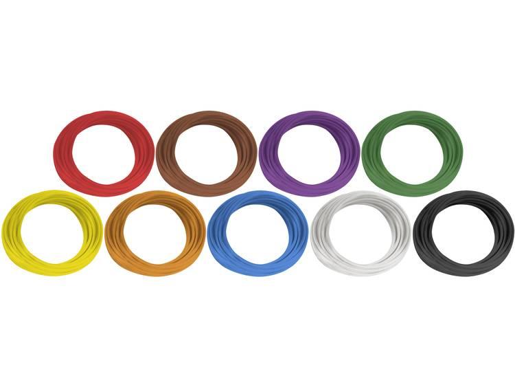 BKL Electronic 1502100 Draad H05V-K 1 x 0.75 mm² Blauw, Rood, Zwart, Geel, Groen, Bruin, Oranje, Wit, Lila 1 set