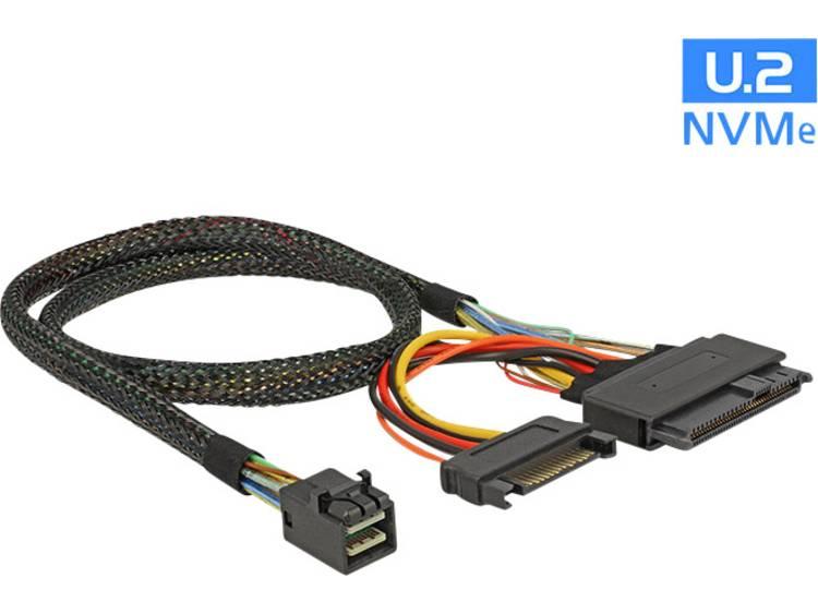 Harde schijf Kabel [1x Mini-SAS-stekker (SFF-8643) - 1x U.2 SSD, SATA-stekker 7-polig] 0.50 m Zwart Delock