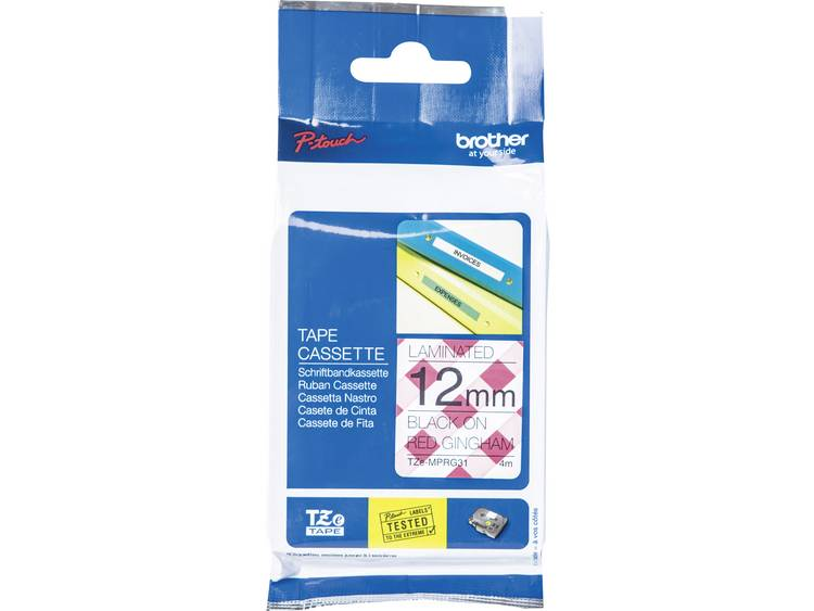 Labeltape met patroon Brother TZe, TZ TZe-MPRG31 Tapekleur: Wit (met rood ruitmotief) Tekstkleur:Zwart 12 mm 4 m