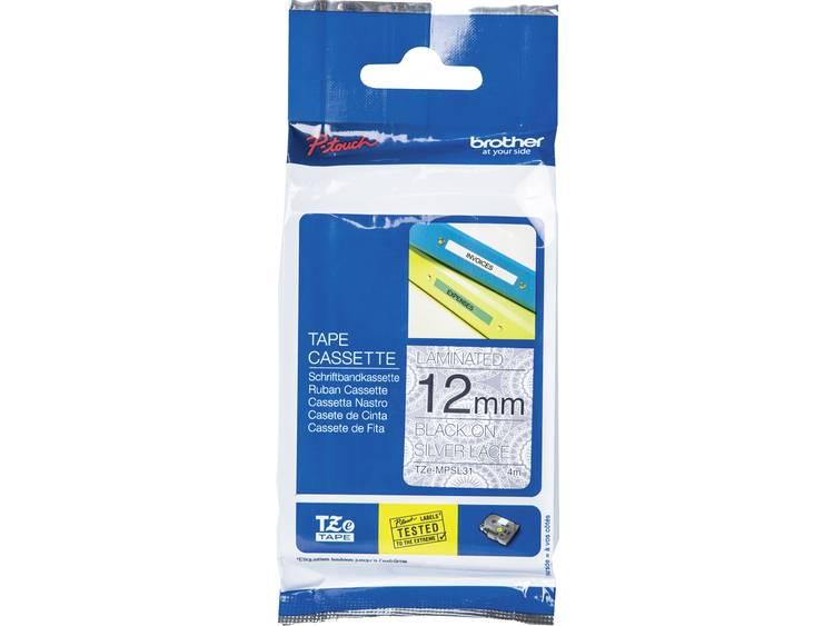 Labeltape met patroon Brother TZe, TZ TZe-MPSL31 Tapekleur: Wit (met zilveren motief) Tekstkleur:Zwart 12 mm 4 m