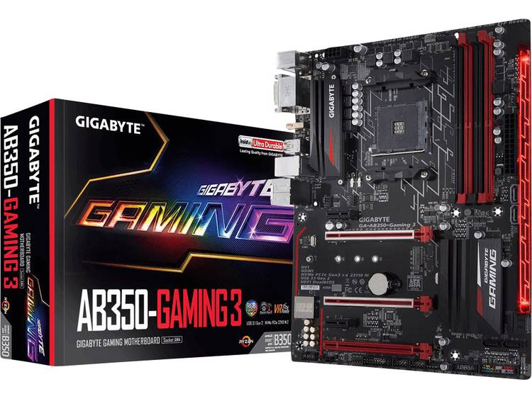 Gigabyte GA-AB350-GAMING 3 Moederbord Socket AMD AM4 Vormfactor ATX Moederbord chipset AMD® B350