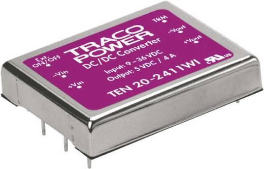 TracoPower TEN 20-2412WI DC/DC-converter, print 24 V/DC 12 V/DC 1.67 A 20 W Aantal uitgangen: 1 x