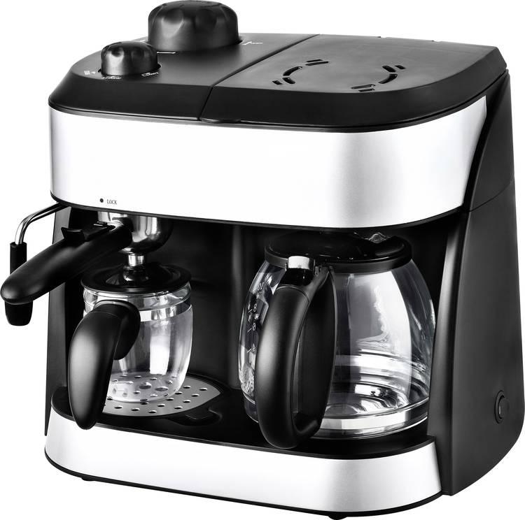 Image of Dubbel koffiezetapparaat TKG Team Kalorik TKG EXP 1001 C Zwart Capaciteit koppen=10 Glazen kan, met drukzetsysteem, met melkopschuimer, met