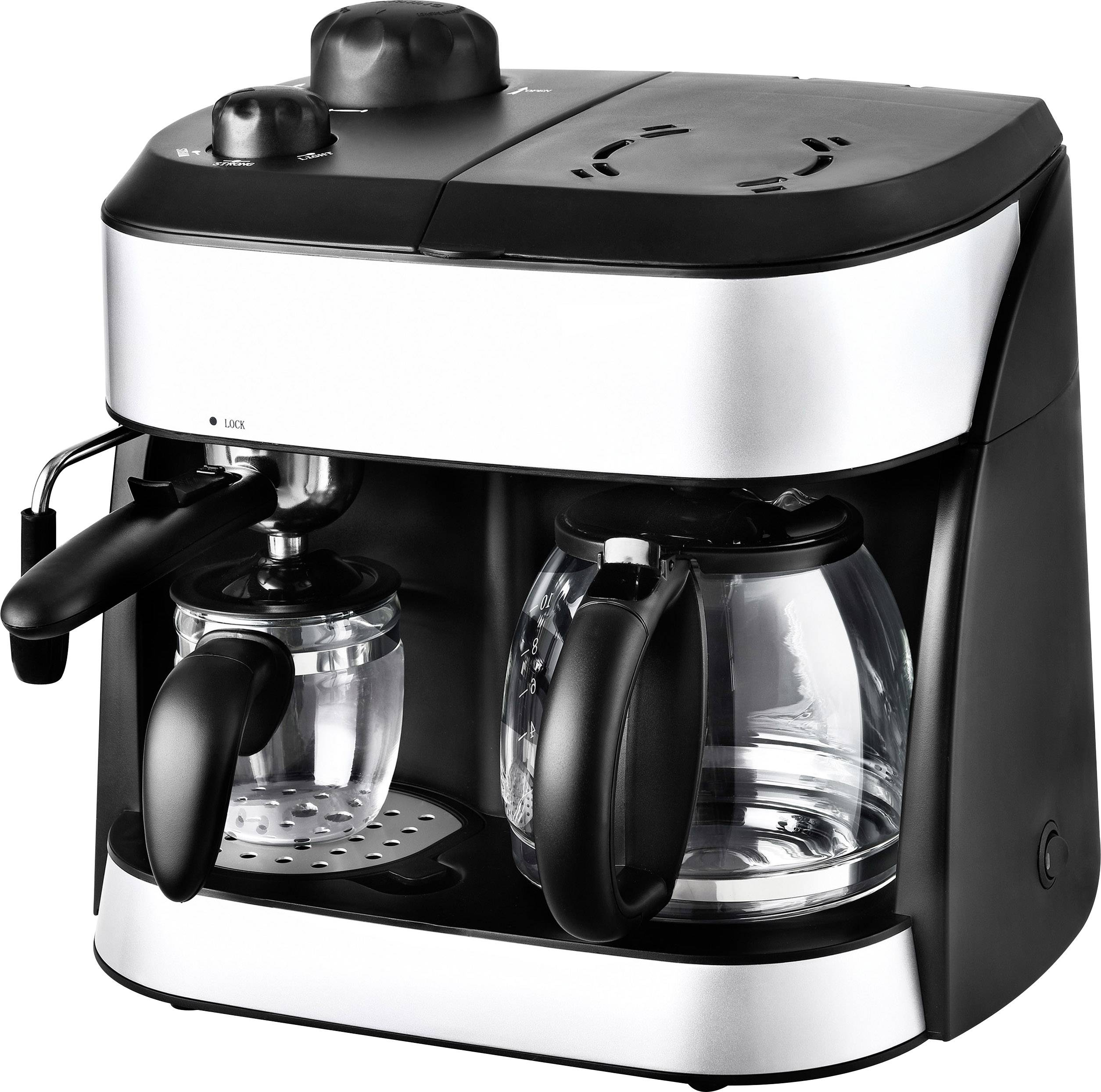 TKG Team Kalorik TKG EXP 1001 C Dubbel koffiezetapparaat Zwart Capaciteit koppen: 10 Glazen kan, Met drukzetsysteem, Me