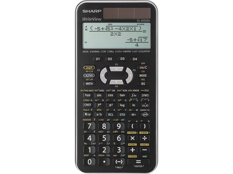 Schoolrekenmachine Sharp EL-W506X Zwart Aantal displayposities: 12 werkt op zonne-energie, werkt op batterijen