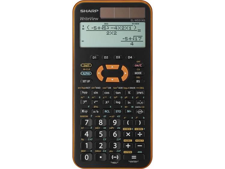 Schoolrekenmachine Sharp EL-W531 XG Oranje Aantal displayposities: 12 werkt op zonne-energie, werkt op batterijen